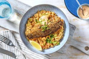 Harissa-Fischfilet mit Bulgursalat image