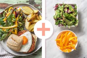 Boekoeloekoeburger met gebakken ei en aardappelen image