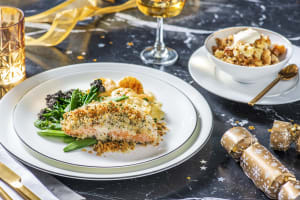 Herby Crusted Salmon with Dauphinoise image