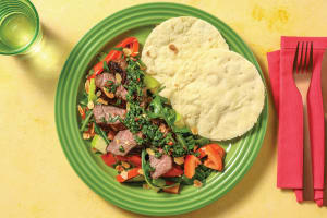 Herby Steak & Chimichurri Sauce with Flatbread image