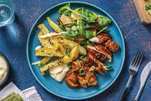 Honey-Soy Glazed Chicken & Sesame Fries with Japanese-Style Pear Salad image
