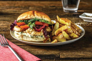 Italian Cheesy Chicken Burger & Caramelised Onion image