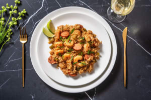 Jambalaya cajun aux crevettes & à la saucisse image