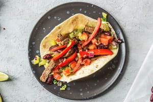 Kiwi Salsa and Steak Fajitas image