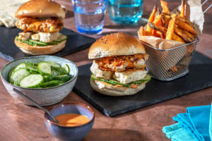 Korean-Style Fried Chicken and Halloumi Burger image