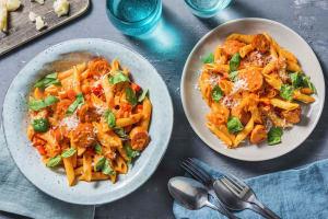 Krämig pasta med korv image