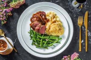 Lamb Steak, Dauphinoise Potatoes and Red Wine Jus image