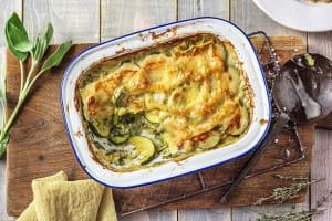 Romige lasagne met prei en courgette image