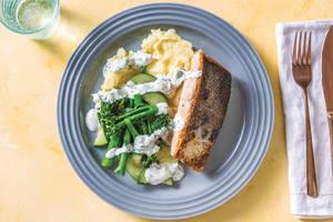 Lemony Salmon & Mashed Potato with Dill-Parsley Dressing image