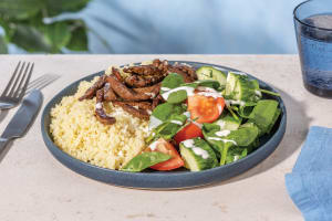 Ras El Hanout Beef & Couscous with Salad & Aioli Dressing image