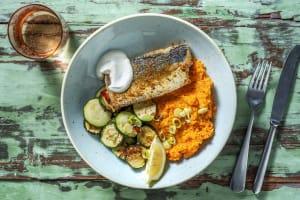 Madras Curry-Fisch mit Süßkartoffel-Karotten-Püree image