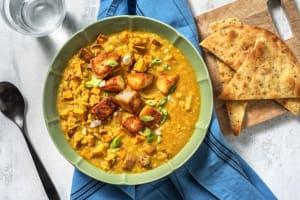 Mango Chutney Coated Halloumi and Sweet Potato Dal image