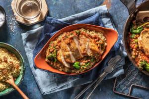 Filet de poulet épicé à la marocaine et mijoté de lentilles et tomates image