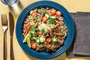 Mexican Beef & Brown Rice Quinoa Bowl with Salsa image