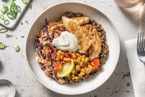 Mexican Chicken Quinoa Bowl with Creamy Slaw & Charred Corn Salsa image