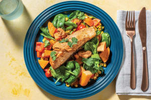 Mexican Spiced Salmon with Roast Veggie Toss & Mojo Rojo Dressing image