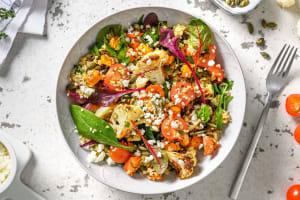 Salade orientale au boulgour, légumes au four et feta image