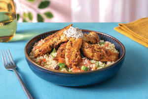 Middle Eastern Chicken Couscous Bowl with Cucumber Salsa & Tahini image