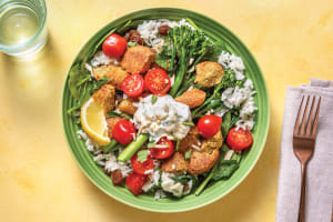 Middle Eastern Falafel Rice Bowl with Greens & Herby Yoghurt image