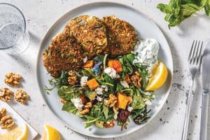 Middle Eastern Lentil & Fetta Patties with Roast Veggie Salad image