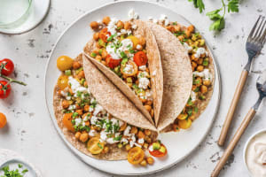 Bruine tortilla's met kikkererwten en feta image