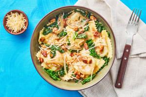Mushroom Ravioli with Kale & Walnuts image