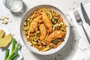 Nouilles udon sautées au poulet & noix de cajou image