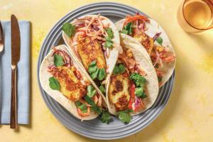 Spiced Haloumi Tacos with BBQ Mayo & Corn Slaw image