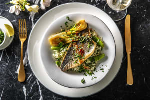 Pan-Fried Bream and Zesty Coriander Rice image