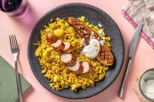 Paprika-amandelvarkensworst van Brandt & Levie met kruidige rijst image