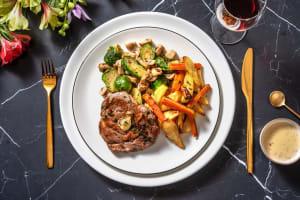 Pavé de rumsteak sauce au bleu & frites maison image