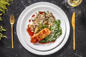Pavé de saumon laqué & risotto aux champignons image