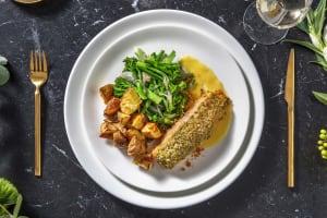 Pesto Crusted Salmon and Lemon Butter Sauce image