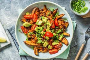 Veggie Chilli Loaded Sweet Potato Fries image