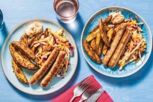 Pork Sausages & Spiced Wedges image