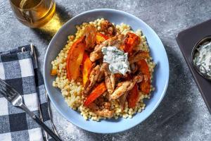 Potimarron rôti & poulet mariné aux épices image