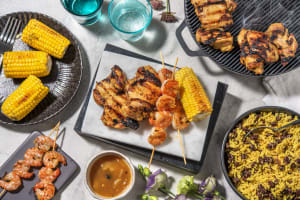 Poudre de Colombo Spiced Chicken Thighs and Prawn Skewers image