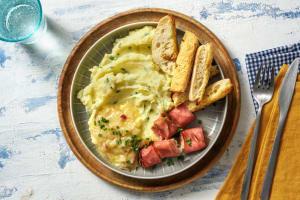 Purée au beurre noisette & roulés jambon-fromage image