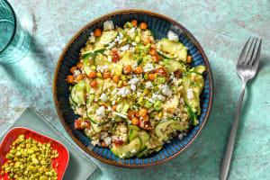 Salade de couscous perlé, pois chiches croquants & feta image