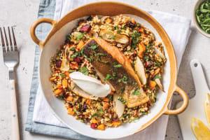 Salmon & Herbed Freekeh with Roasted Veggies & Lemon Yoghurt image