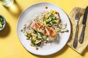 Pan-Fried Salmon and Soy-Glazed Bok Choy image