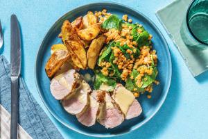 Schweinsnierstück mit Linsen-Spinat-Gemüse image