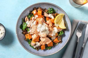 Seared Salmon and Lemony Lentil Bowl image