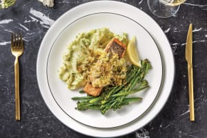 Seared Salmon & Leek-Caper Sauce image
