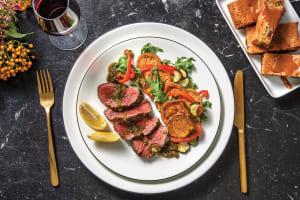 Seared Fillet Steak & Pesto Butter Sauce with Roast Veggie Salad image