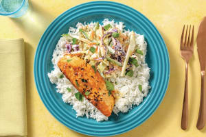 Sichuan-Glazed Salmon with Creamy Slaw & Rice image
