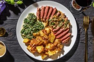 Sirloin Steak and Peppercorn Sauce image