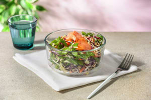Asian Style Smoked Salmon and Crunchy Veg Salad with Ginger, Sesame and Lime Dressing image