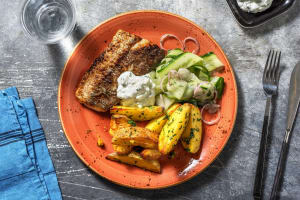 Souflaki-Seehecht mit Zitronenkartoffeln image