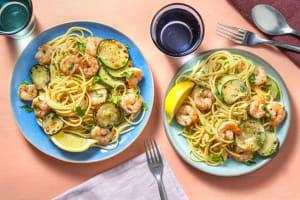 Spaghetti aux crevettes et courgette image